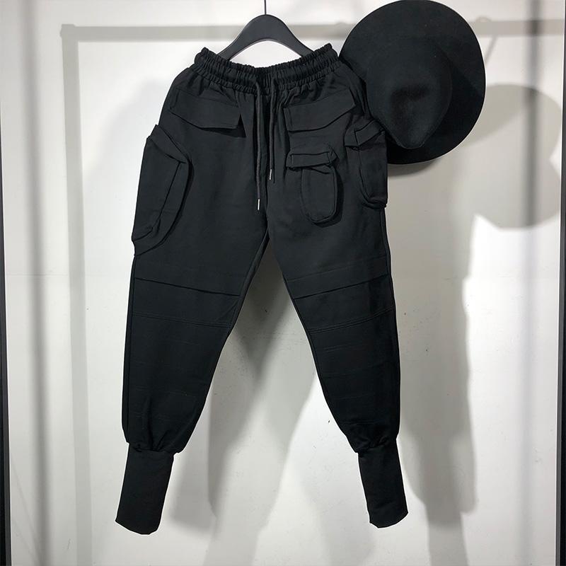 Roupa Sweatpants Primavera Negra Owen Seak Homens Harem Casual Calças High Street Wear hip hop carga tornozelo comprimento calças dos homens