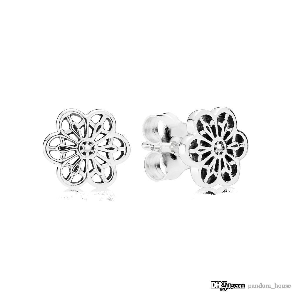 Pendientes Pandora nueva auténtico real de plata esterlina cielo abierto de la flor 925 290692 bricolaje Jewelrynew