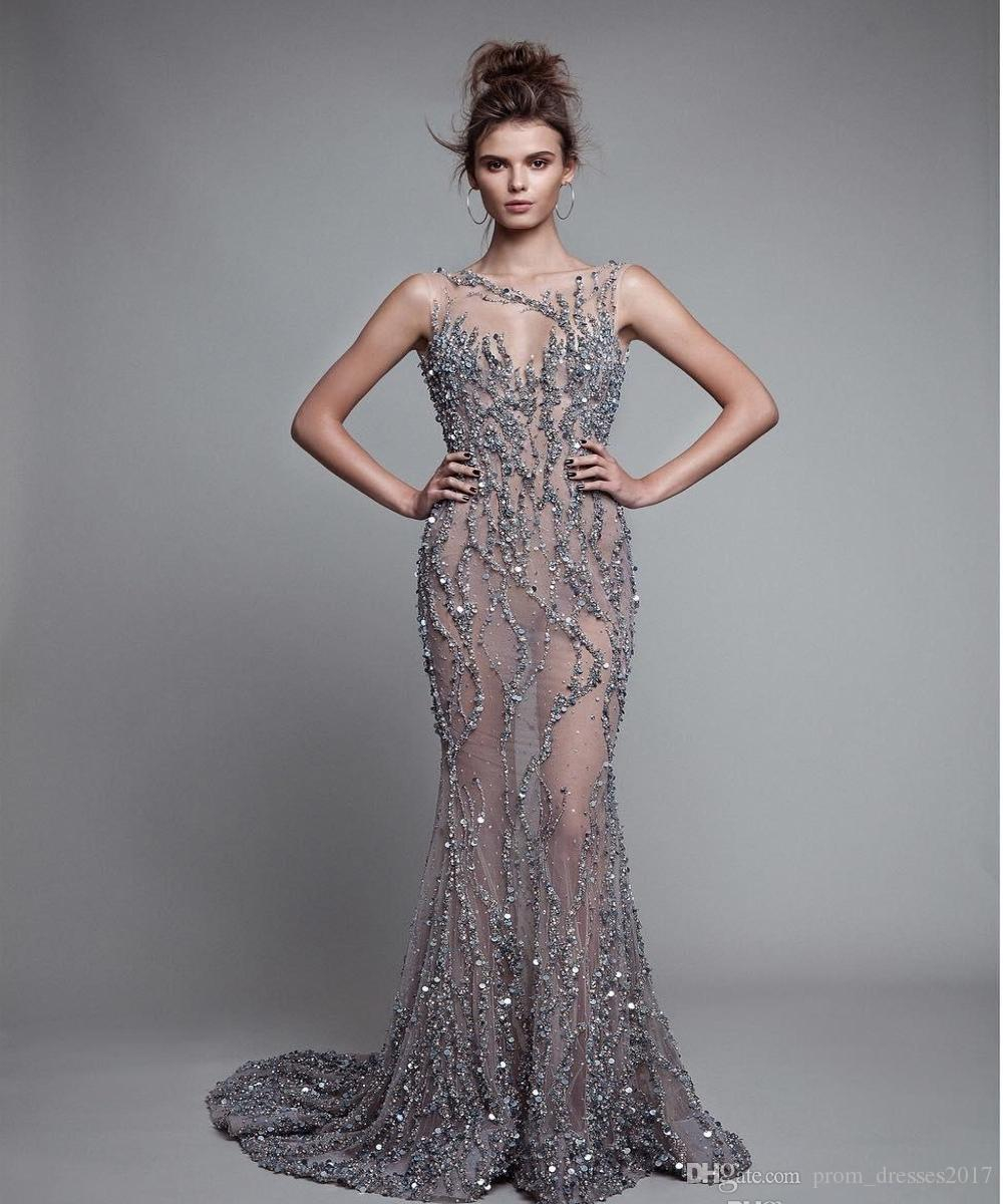 Luxury Berta Mermaid Evening Dresses Backless Beads Trumpet Prom Gowns Sleeveless Crystal Sequins Sexy Illusion Party Dresses