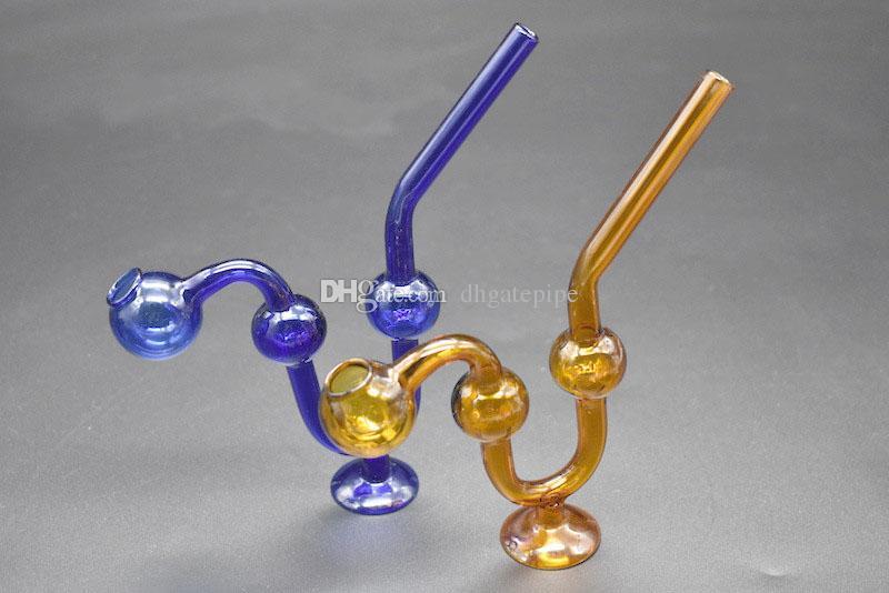 S Şekil Renkli Cam Yağı Brülör Borusu Ucuz Yılan Cam Su Borusu Pyrex gibi El sigara Boru Tütün Yağı Brülörleri ile Baz ...
