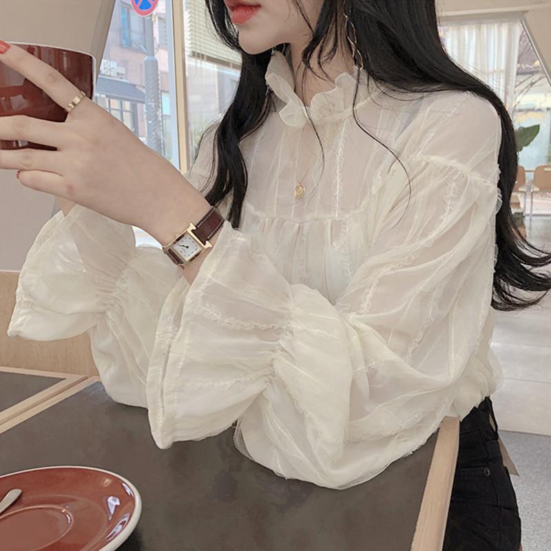 OMG si magnifique ridé Volants manches Flare Shirt Femme Haut Chemisier transparent Femme Printemps Chemise Blusa Mujer Camisa