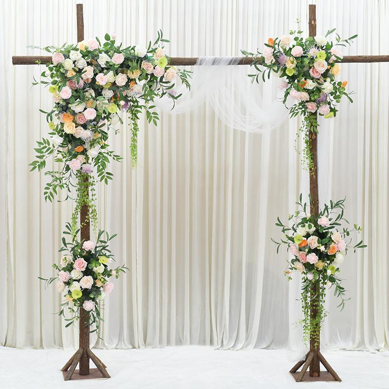 Decoración de la boda accesorios simulación flor combinación traje flor fila pared decoración de la boda al aire libre arco de madera puerta ventana decoración