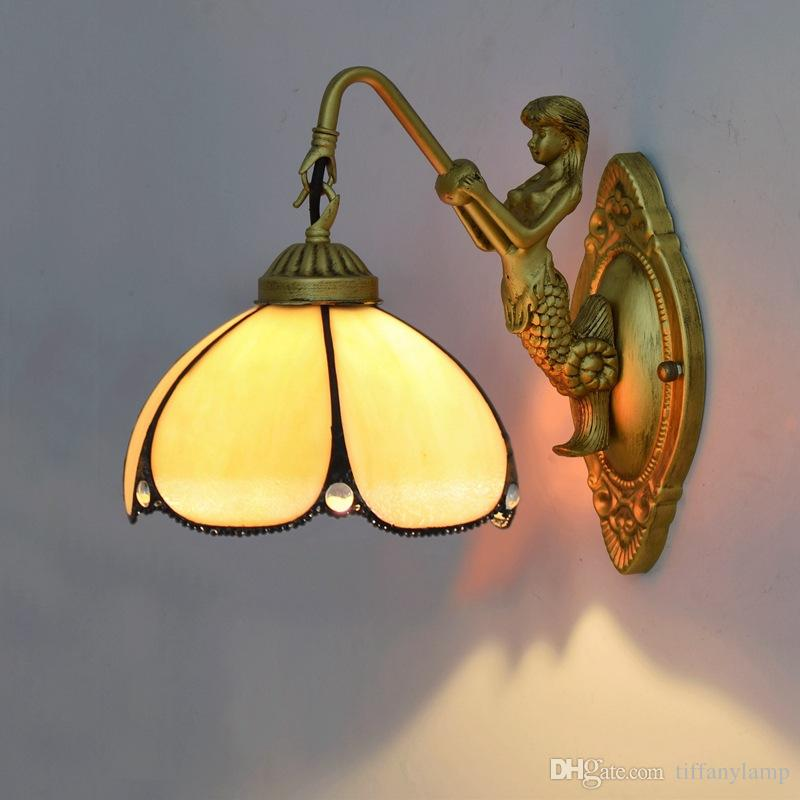 Stained Glass Wall Lamp LED Wall Art Shade Light Luminaire for Bedroom Bedside Indoor Lights Fixture Corridor Bar Sconces Wall Lamps