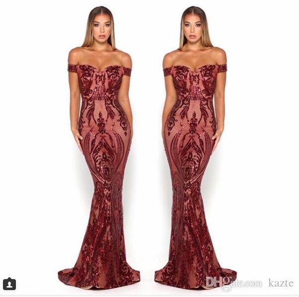 Scarlett Mermaid Prom Pagenat Dresses 2019 어깨에서 섹시한 전체 길이 부르고뉴 에메랄드 사냥꾼 Yousef Aljasmi 경우 이브닝 가운