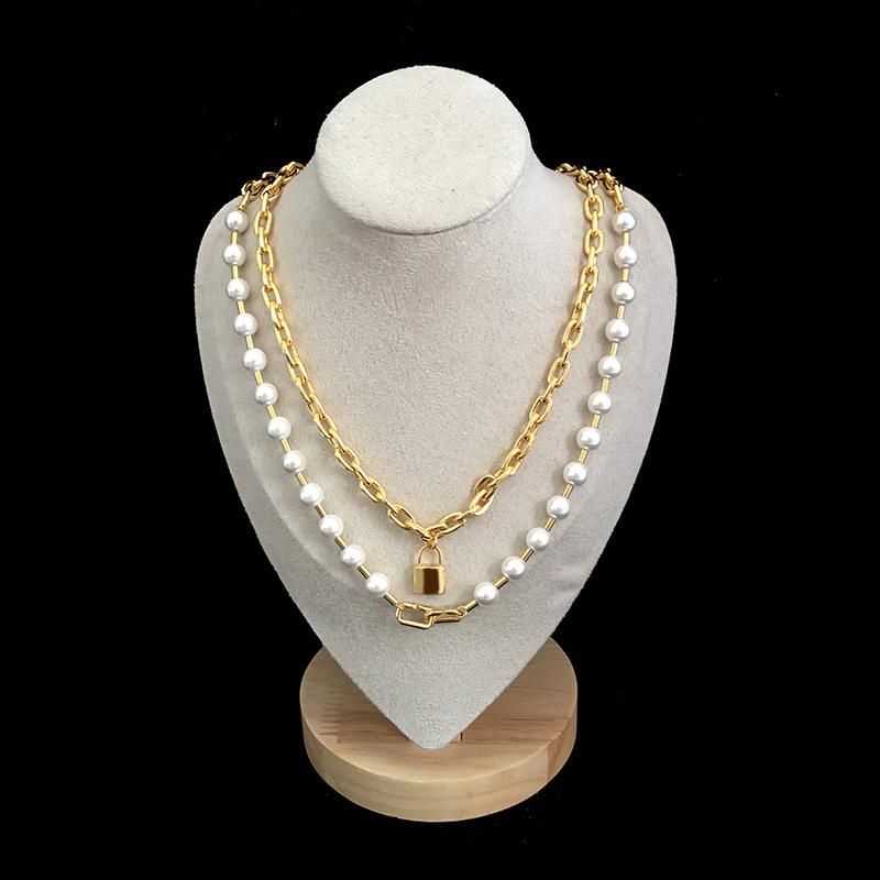 fashion trend jewelry 2020 new star with double pearl chain necklace hip hop bling chains jewelry women gold chain women necklace