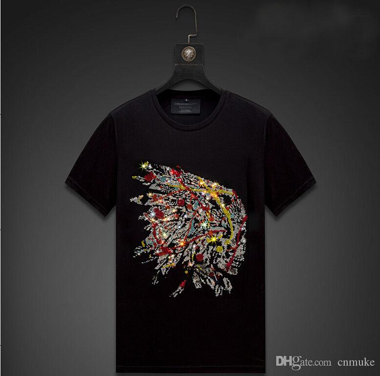 Streetwear Homens Diamonds Mens Verão Hip Hop soltas T Shirt Moda Masculina Tees Casual Q7 Tops preto