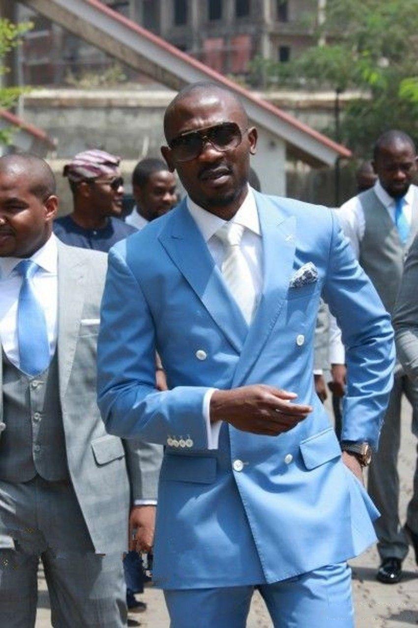 Tuxedos mariage hommes bleus Peak Peak Tuxedos de marié marié à la meilleure robe populaire hommes d'affaires dîner / costume Darty (veste + pantalon + cravate) 339