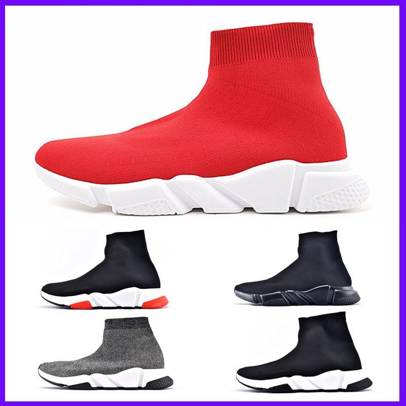 Zapatos superior de la marca de lujo de las zapatillas de deporte de las mujeres de los hombres de París Trainer velocidad Negro Rojo Triple Moda calcetín botas altas de venta