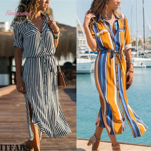 Casual mujeres se visten de nuevo de la manera Mujer Clotheswomens Summer Long Beach partido de tarde Maxi vestido de camisa de la blusa del envío de la buena calidad