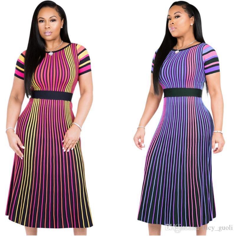 Colorful Vertical Stripe Summer Dress Ruffles Long Maxi Dress Casual Women Belt Party Club Dress Casual Short Sleeve Elegant Party Dresses