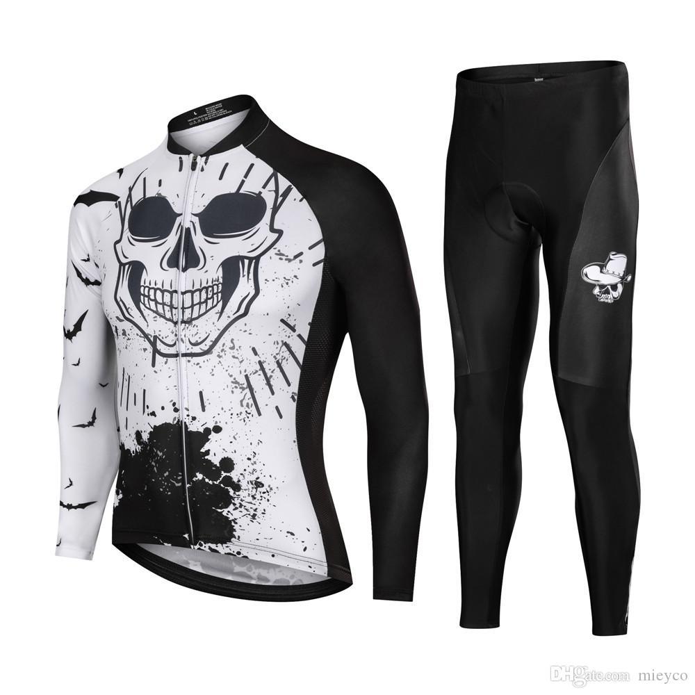 2020 otoño manga larga Pro Cycling cráneo Jersey manga de los hombres retro completa un ciclo conjunto camiseta del equipo Ropa De Ciclismo ropa de ciclismo