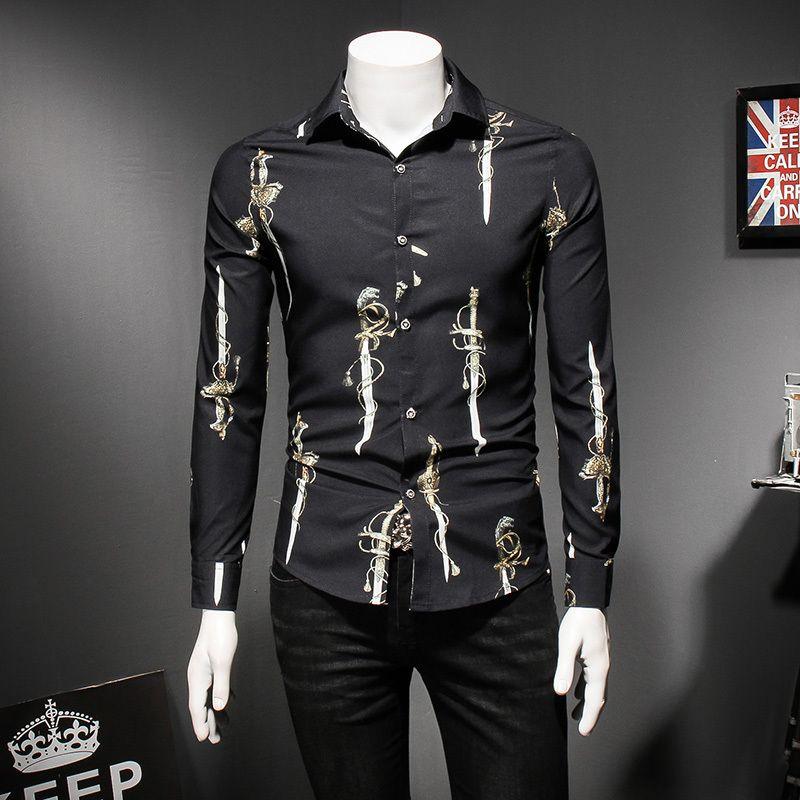 Desen Onay Gömlek 2018 Yeni Uzun Kollu Erkek Gömlek Casual Slim Fit Vintage Artı Boyutu 5xl Camisa Moda Masculina