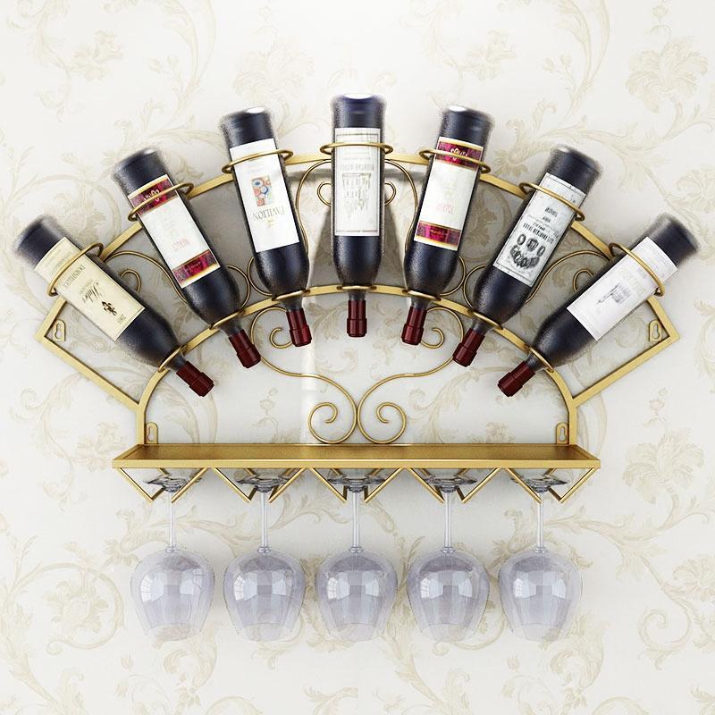 Modern Metal Şarap Şişe Tutucu Duvar Whisky Şık Odası Dekorasyon Organizatör Züccaciye Depolama Raf Ekran Rack Monteli