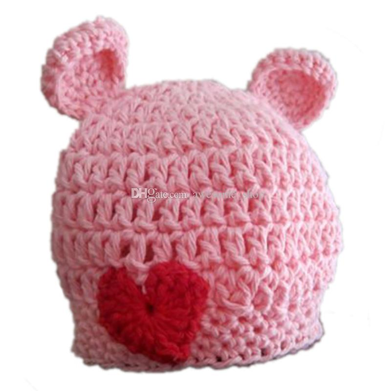 Lovely Knit Pink Bear Hat,Handmade Crochet Baby Boy Girl Valentine Day Bear Beanie,Animal Halloween Costume,Infant Newborn Photo Prop