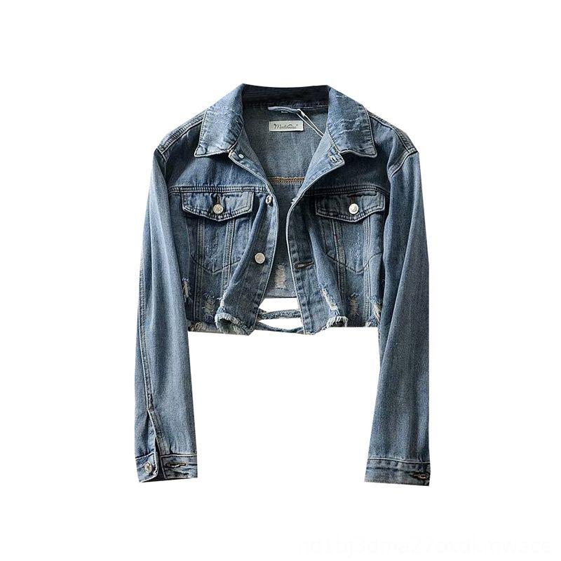 Roupa E Personalidade tendência de longo luva de lavagem de Coats Mulheres Casacos Outono Novos produtos Mulheres Retro de Moda Denim Top Short Cut w