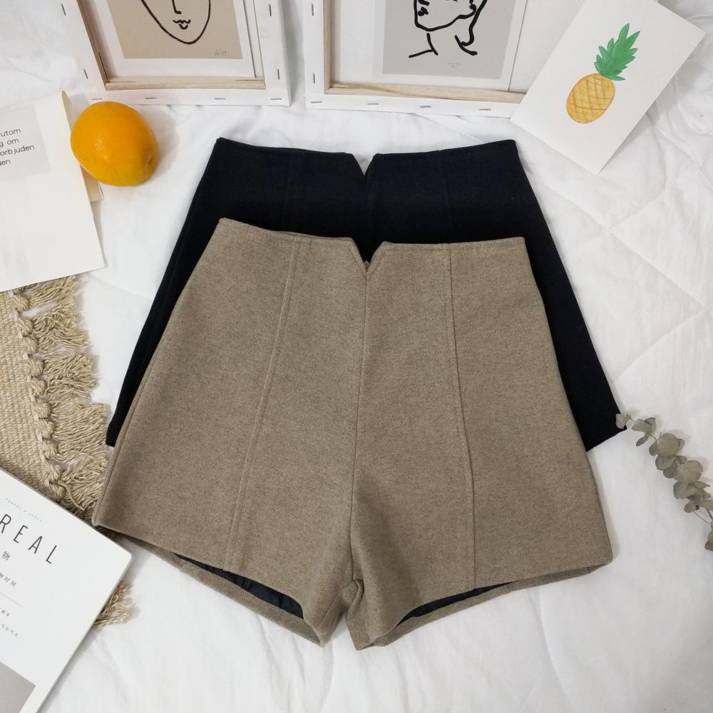 morno mulheres grossa de volta zipper calções de lã 2019 outono e inverno coreano calções de lã soltos cintura alta fora botas calças