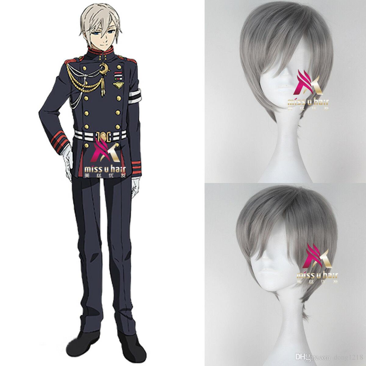 Seraph of the End Shinya Hiragi Short Straight Silvery Grey Anime Cosplay Wig