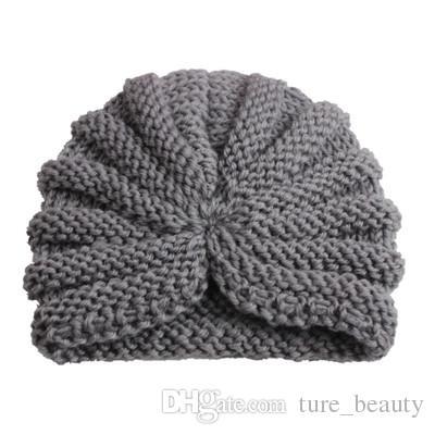 Girls Boys Warm Winter Knitted Crochet Blue Patchwork Beanie Cap Baby Bow Hat