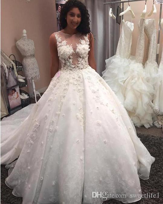 Gorgous 2019 Sheer Jewel Neck A Line Wedding Dresses 3D Flora Appliques Puffy Tulle Sweep Train Church Castle Wedding Dresses Bridal Gown