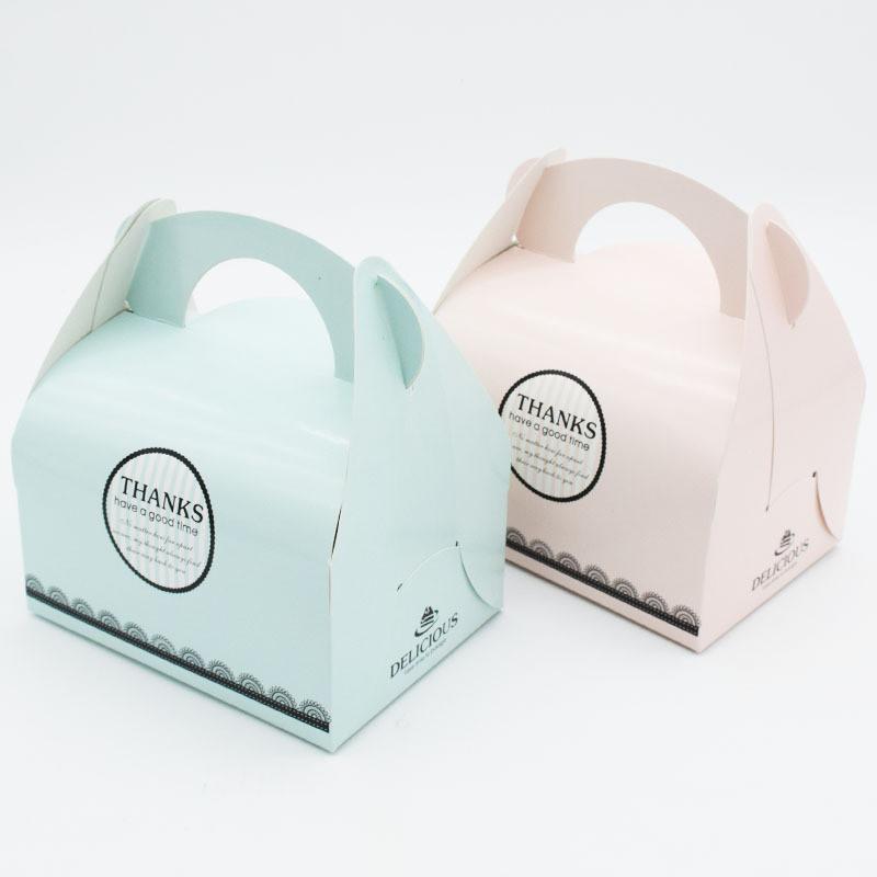 Boîte à gâteau avec poignée Bonbons Boîtes à petit gâteau Boîte pour Paquet cadeaux mariage papier carton boîte à gâteau cyq0041