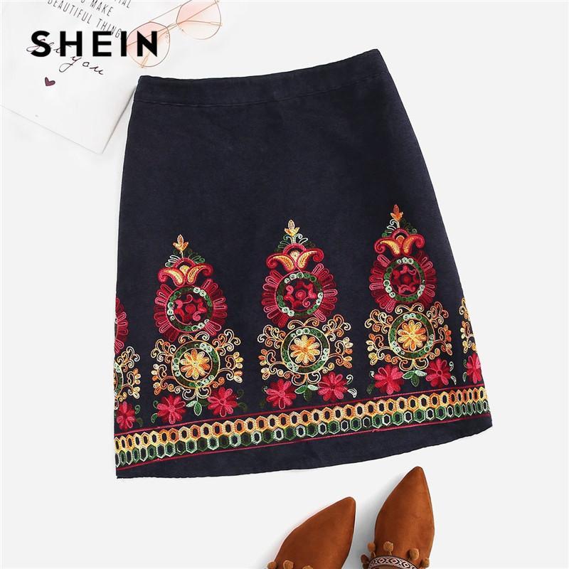 Shein azul marino bordado más el tamaño de las mujeres una línea de pana faldas Indie estilo popular 2019 cremallera espalda Boho faldas cortas Y19043002
