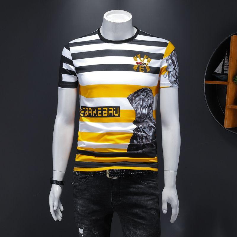 Мужская футболка с короткими рукавами летняя полосатая полосатая плечо, мерсеризованная хлопковая футболка вокруг шеи тонкий дна-рубашка 2020 новая тенденция