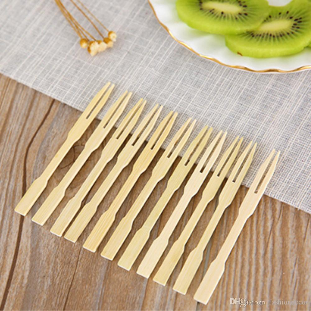 100 Disposable Bamboo Fork Sticks Fruit Desserts Food Pick Forks Tableware Party