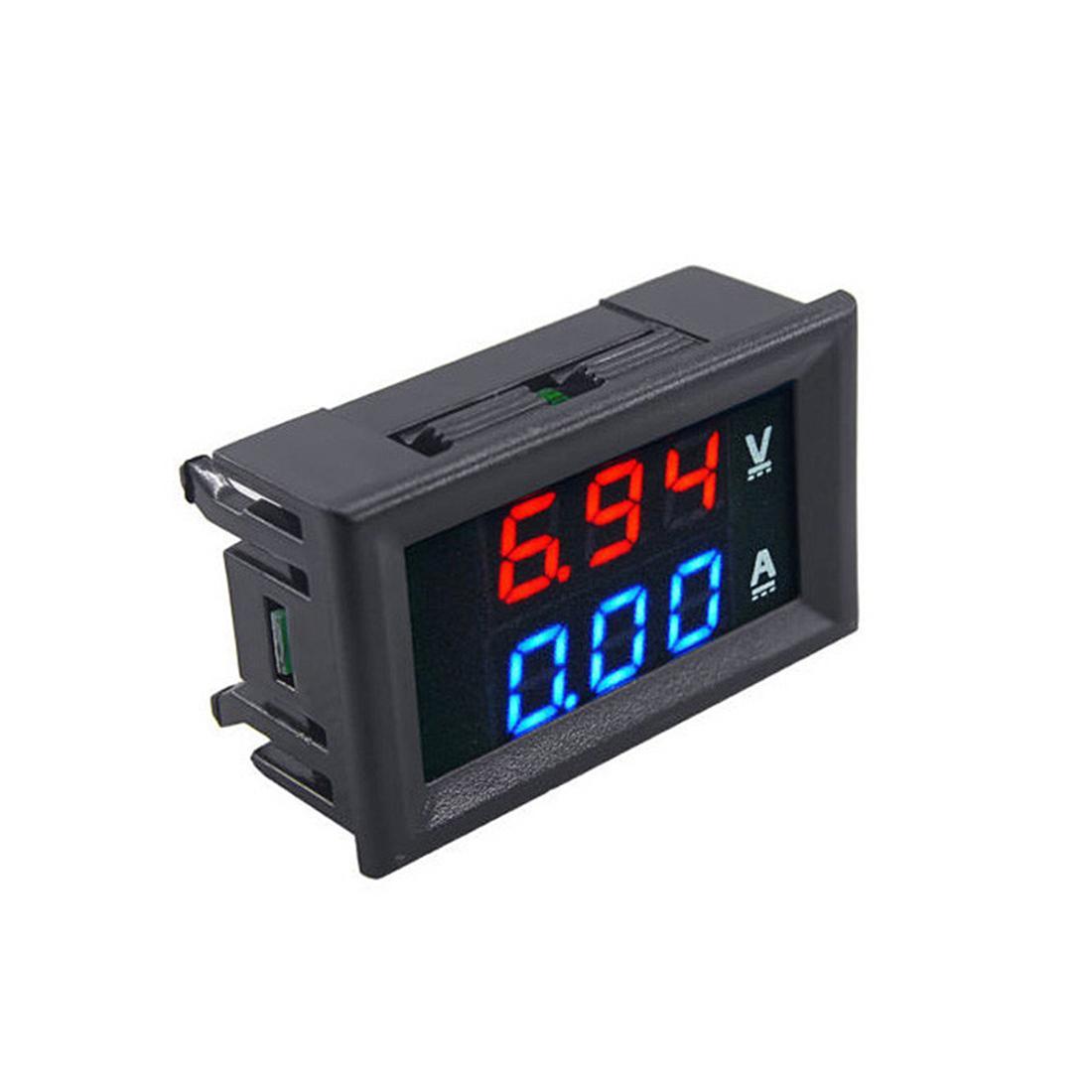 """مصغرة الرقمية الفولتميتر مقياس الطراز DC 100 فولت 10a لوحة amp فولت الجهد الحالي متر اختبار كاشف 0.56 """"شاشة LED المزدوجة السيارات السيارات"""