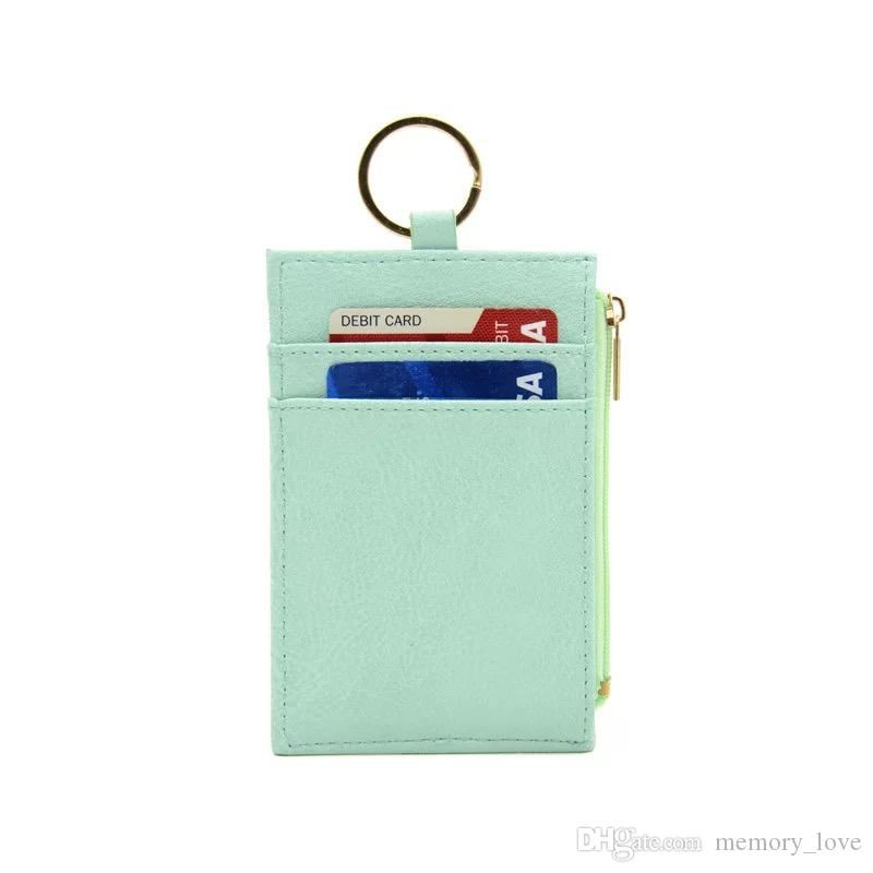 Drop shipping Slim PU Coin purse keyring card wallet with lanyard Chest Card holder custom wholesale card holder wallet