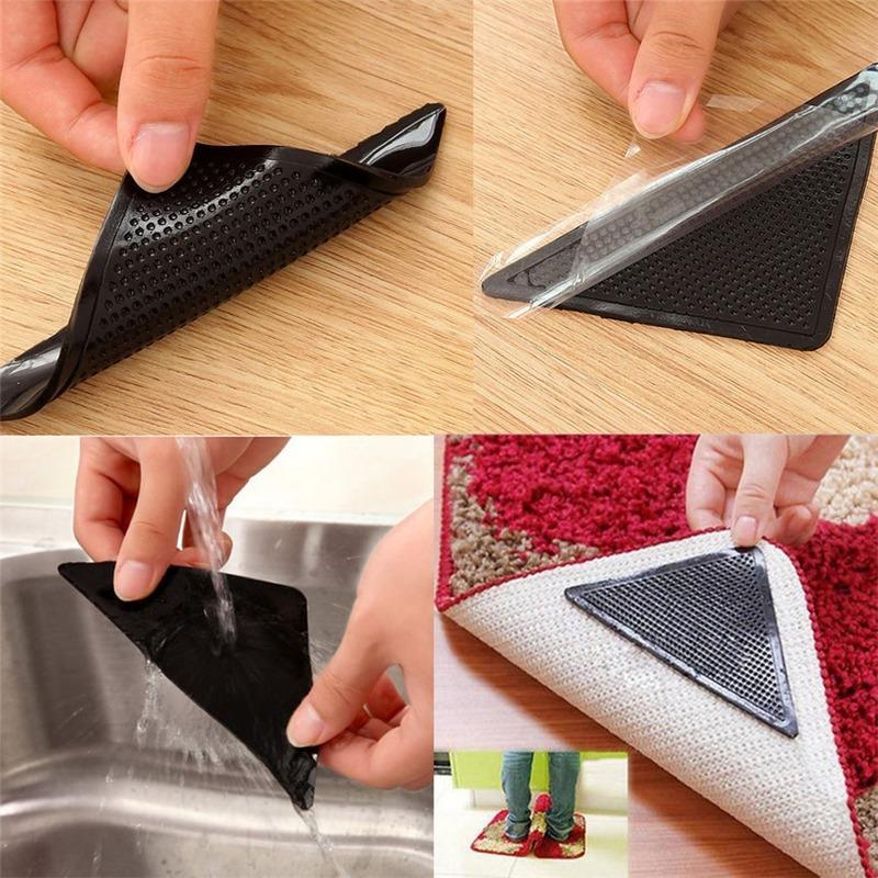 4pcs Inicio piso Alfombra Alfombra de Pinzas autoadhesivo Anti Slip Tri etiqueta reutilizable lavable silicona Grip Sticker Pad D # 3