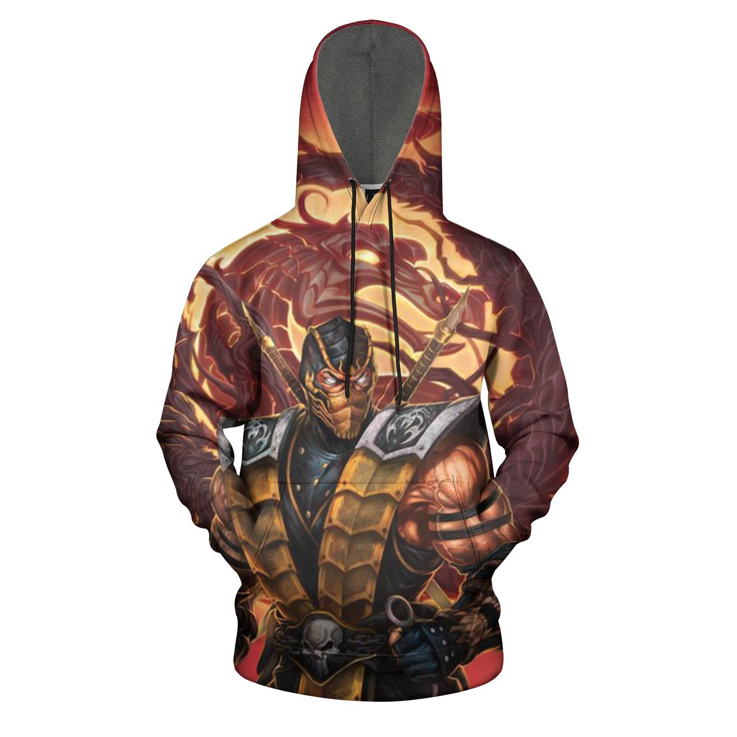 3D Print Mens Hooded Sweatshirts Scorpion Print Drawstring Pullover Hoodies Pockets
