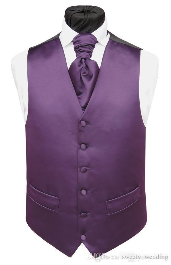 Handsome Purple Satin Wedding Vests Custom Made Groom Vest Slim Fit Mens Suit Vest Waistcoat Dress With Two Pockets Only Vest