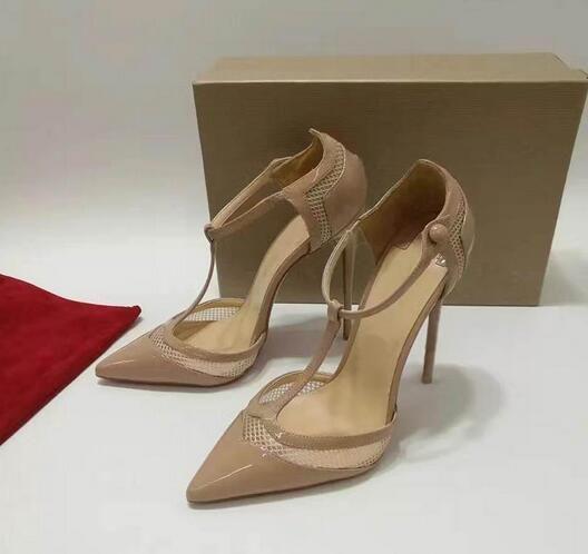 Zapatos de fiesta de boda de tacones altos rojos inferiores para mujeres Luxury Brands T-strap Womens Pumps 12cm / 10cm / 8cm zapatos de baile sexy con bolsa para polvo