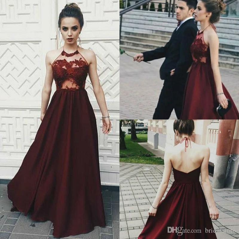 New A Line Borgogna Abiti da sera Illusion Top Lace Halter Petite Backless Full Length Lungo formale Prom Gown Summer Holiday robe de soiree