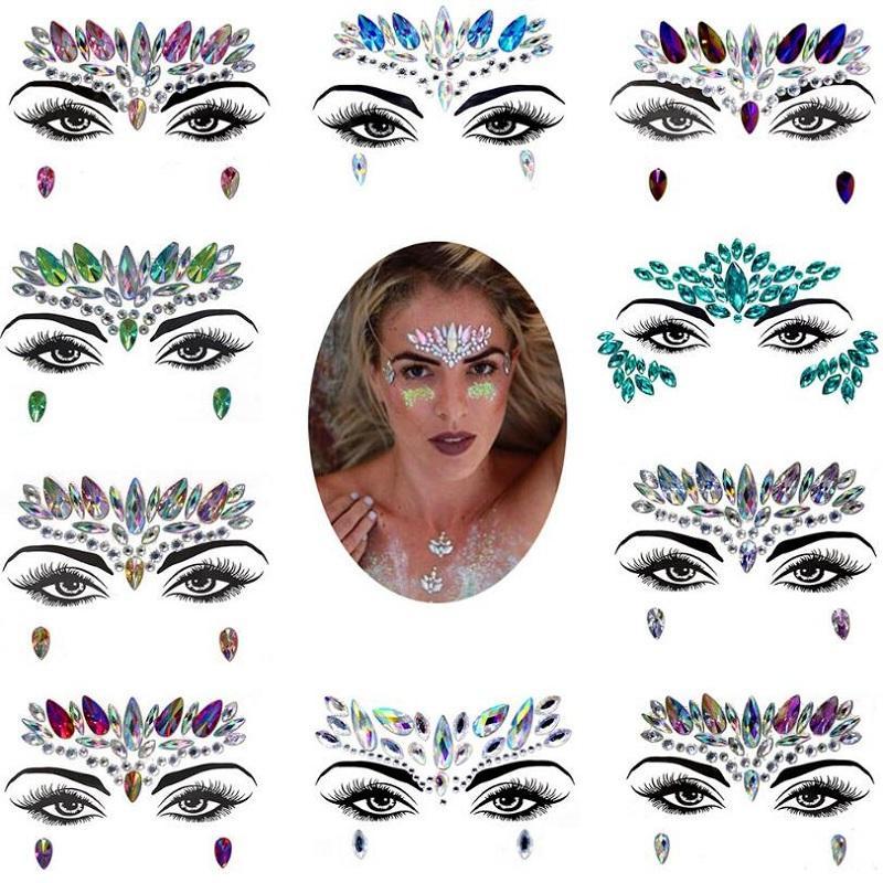 2pcs/set DIY Eyebrow Face Body Art Adhesive Crystal Glitter Jewels Festival Party Beauty Makeup Rhinestone Face Gems Stickers