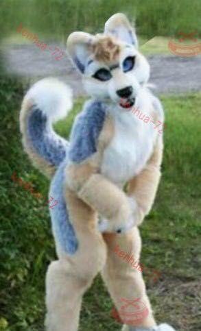Long Fur Husky Dog Fox Fursuit Mascot Costume Suit Cosplay Dress Adult
