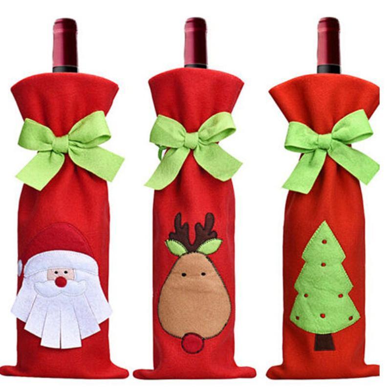 Décorations de Noël Cartoon Bouteille de vin Sac Père Noël arbre elk cadeau Sacs Mariages Vacances Fête 13x 36cm refroidisseur de bouteille