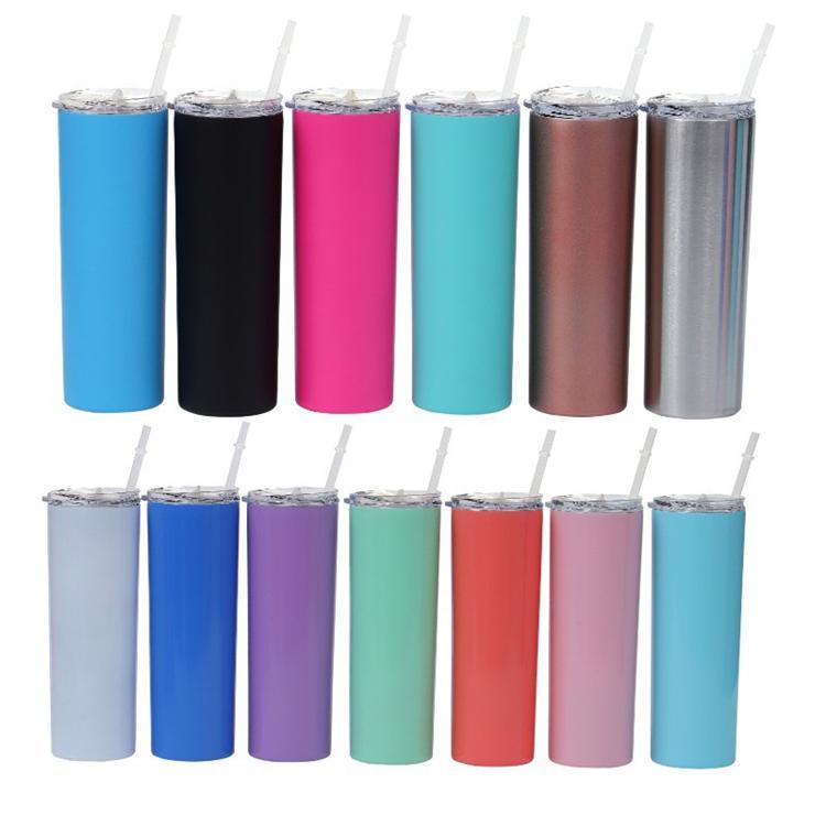 Hot 20oz Edelstahl Cups Skinny Tumbler-Vakuum-isolierte gerade Tasse Bier-Kaffeetasse-Gläser mit Deckeln und Strohhalmen 4884