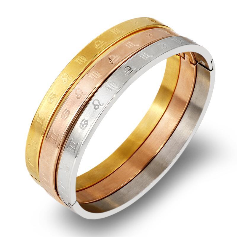 Benutzerdefinierte Zodiac Constellation Armband-Armbänder 316L Edelstahl 4mm-Armband-Armbänder für Frauen