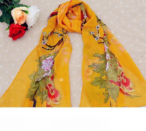 50 * 160CM وصول جديد الأوشحة الكورية نمط الأزهار المطبوعة سيدة الشيفون الحرير