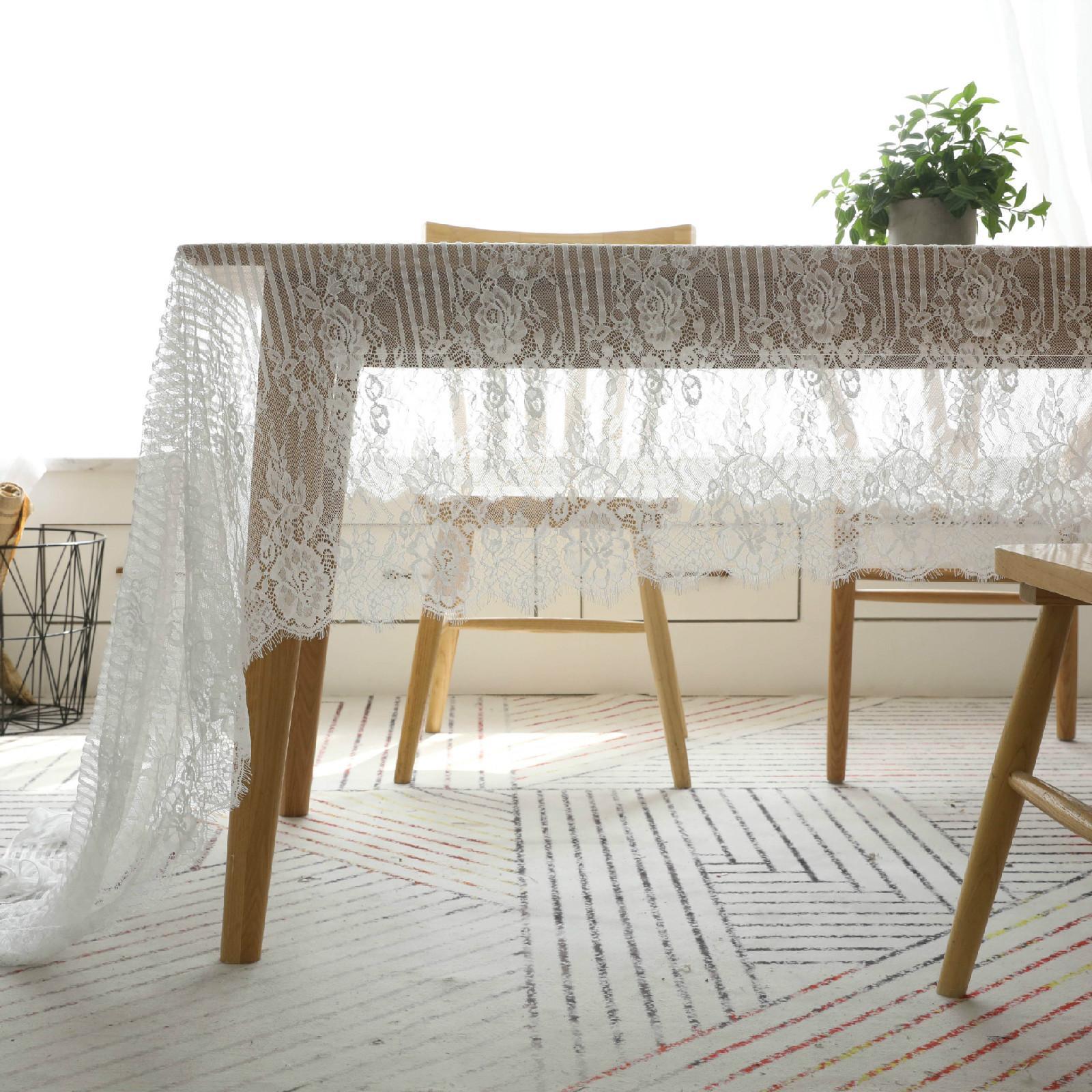 Blumen-Spitze-Tabellen-Tuch Durchlässiger Tee und Kaffee Tischdecke weißen Streifen-Mode-Kunst Bar Tischtuch