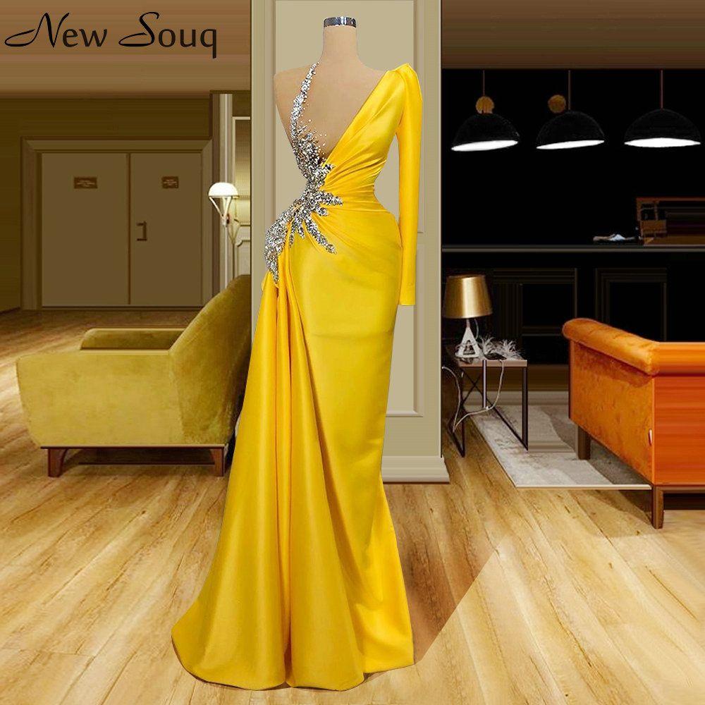 Sexy Illusion eines Schulter-gelbe Nixe wulstiger Kristall Ruched Muslim Abendkleider Robe De Soiree Femme Robe 2020