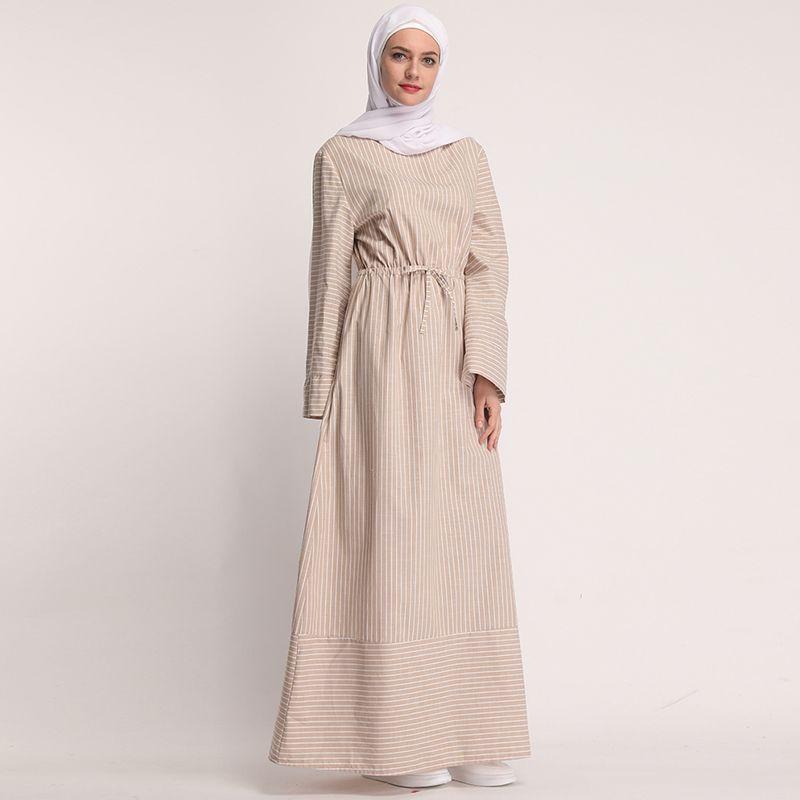 Yeni Kaftan Abaya Dubai Türkiye Müslüman Elbise Ramadan Kaftan Marocain Abayas Kadınlar için Çizgili Başörtüsü Elbise Türk İslam Giyim