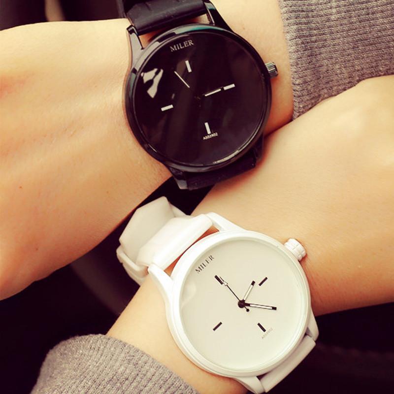 Estilo do clássico Unisex Homens Mulheres Assista amantes casal relógios de quartzo analógico relógio de pulso pu pulseira de couro Montre Homme