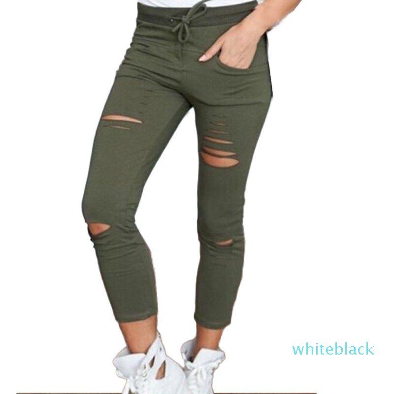 Женский Брюки Женщины Hole Леггинсы Разорванные брюки Тонкий Натяжные Drawstring брюки брюки Army Green Брюки