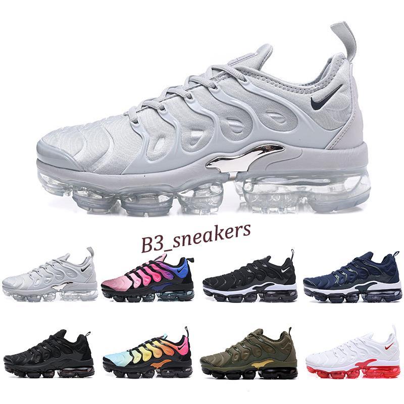 Nike Air Vapormax plus TN 2019 Nova TN Além disso Olive Branco Prata Sapatos Shoes por Homem Shoe Black Pack Triplo calçados casuais 36-45 transporte livre B3