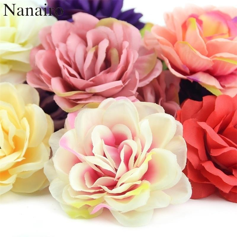100pcs 7cm Rose Artificial Silk Rose Flowers Wall Heads For Home Wedding Decoration Diy Wreath Accessories Craft Fake Flower J190711