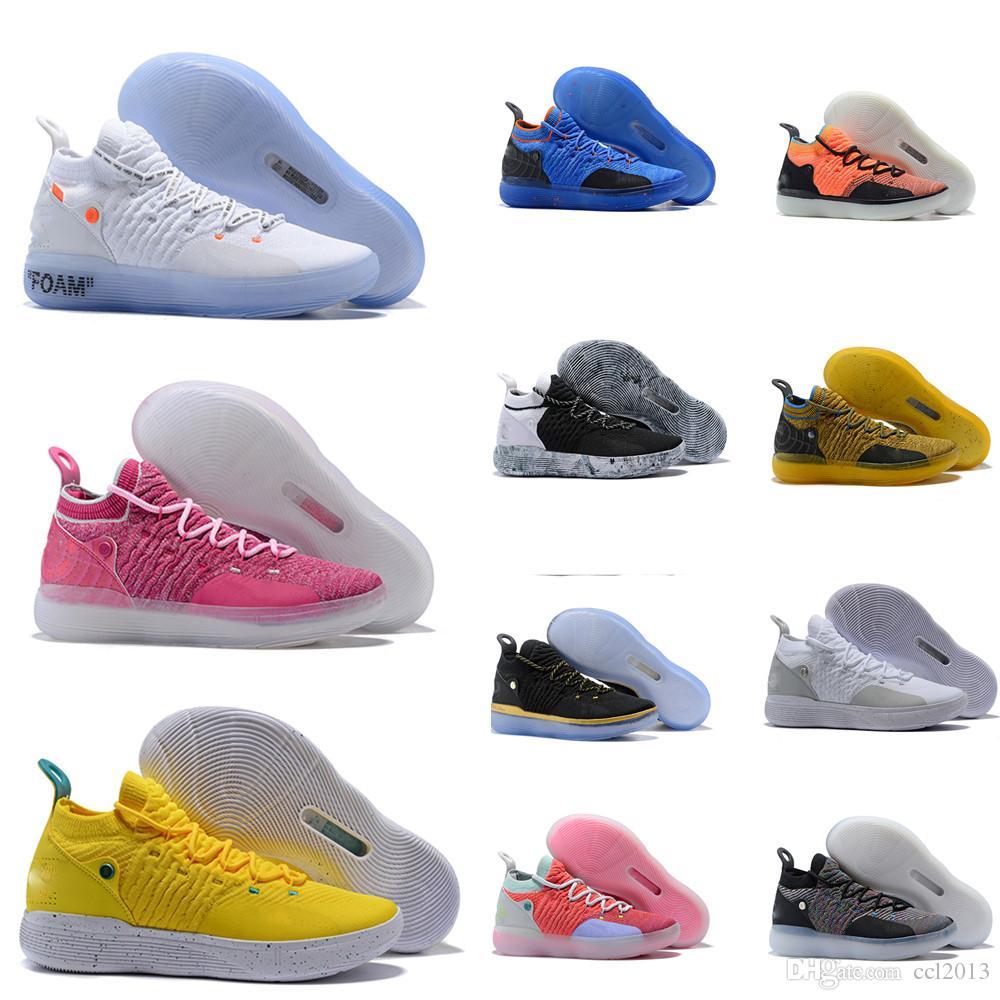Мужские Кроссовки горячего KD 11 EP серый Foam Pink Paranoid Oreo ICE Баскетбол обувь Оригинальный Дюрант XI KD11 кроссовки Размер 7-12