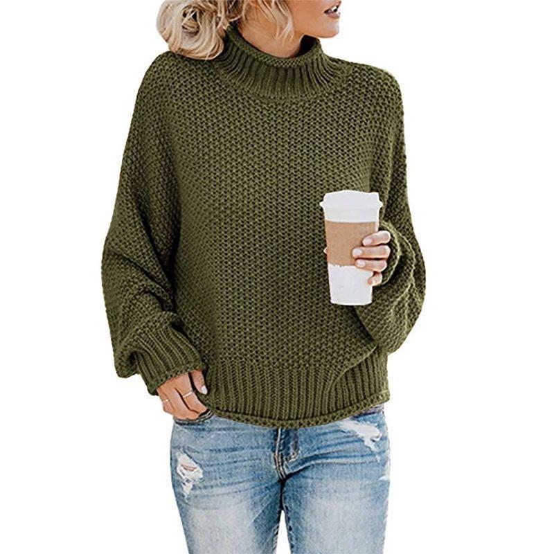 Femmes Pull à col roulé en tricot d'hiver en vrac Jumpers Pull dames de haute qualité surdimensionné épais Pull Femme