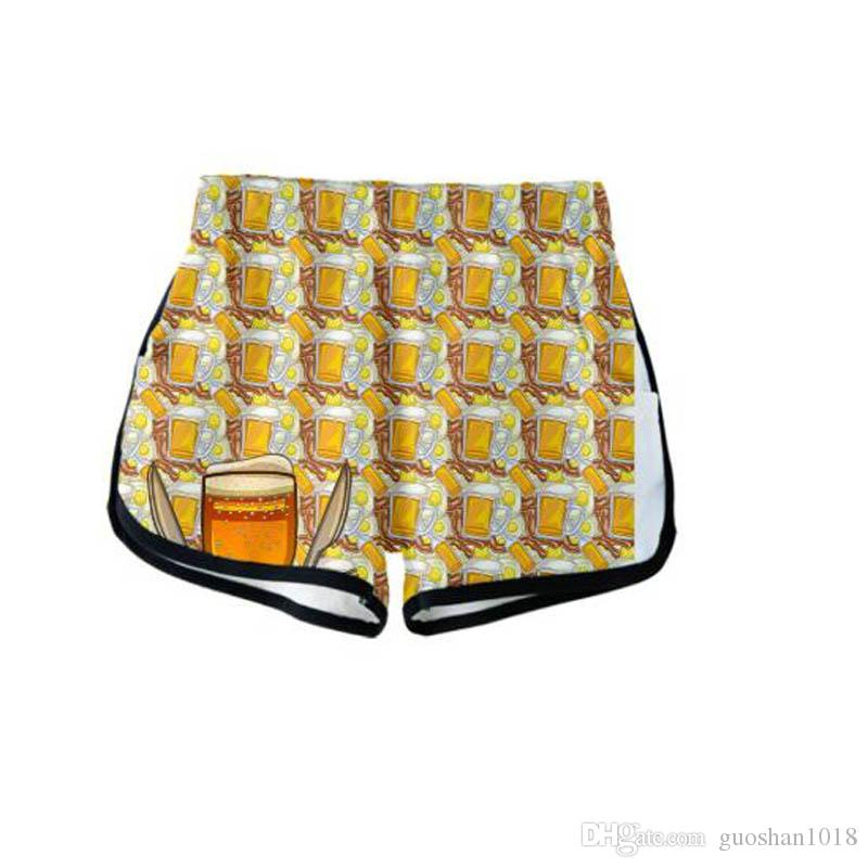 Cerveja 3D Impresso Mulheres Shorts Moda Streetwear Harajuku Shorts 2019 Nova Chegada Venda Quente Meninas Casual Moda Desgaste Do Verão